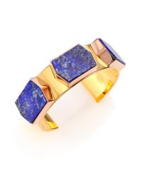 Tory Burch | Blue Lapis Three-stone Cuff Bracelet | Lyst