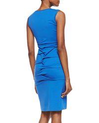 Nicole Miller Artelier - Blue Sleeveless Cowlneck Interlocking Sheath Dress - Lyst