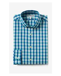 Express - Blue Extra Slim Small Check Dress Shirt for Men - Lyst