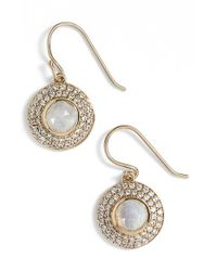 Melinda Maria - Metallic 'jade' Pave Drop Earrings - Moonstone/ Gold - Lyst