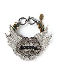 Venna - Metallic Crystal Embellished Lips Bracelet - Lyst