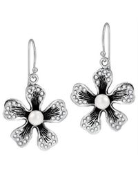 Aeravida - Metallic Dazzling Azalea Cubic Zirconia Embellished .925 Silver Pearl Earrings - Lyst