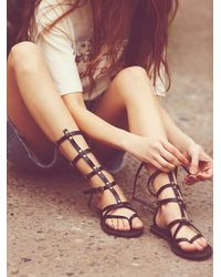 Free People | Black Vegan Noveau Mid Gladiator Sandals | Lyst