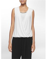 Calvin Klein | White Label Bar Plaque Pleated Wrap Sleeveless Top | Lyst