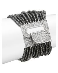 Saks Fifth Avenue - Beaded Stretch Bracelet/black & Silvertone - Lyst
