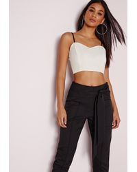 3a09a09313680 Missguided Monochrome Bandeau Crop Top Black white in Black - Lyst