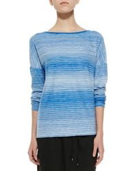 Vince - Blue Space-Dye Boat-Neck Top - Lyst