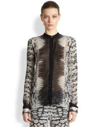 Roberto Cavalli | Natural Graphic Print Blouse | Lyst