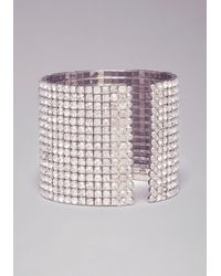 Bebe | Metallic Wide Band Crystal Bracelet | Lyst