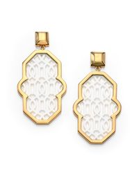 Tory Burch | Metallic Chantal Perforated Drop Earrings | Lyst