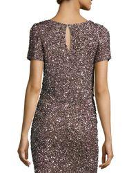 Parker Black - Purple Chrissy Short-sleeve Sequin Crop Top - Lyst