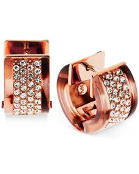 Michael Kors - Pink Rose Gold-tone Tortoise-look Pavé Huggie Hoop Earrings - Lyst