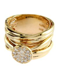 Effy | Metallic Diamond And 14k Yellow Gold Stacked Ring | Lyst
