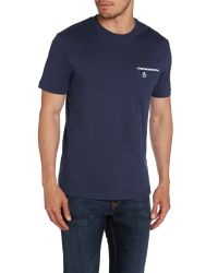 Original Penguin | Blue Check Trim Nimble Crew Neck Regular Fit T-shirt for Men | Lyst
