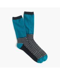 J.Crew | Blue Ribbed Polka-dot Trouser Socks for Men | Lyst