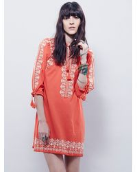 Free People | Orange Santorini Embroidered Dress | Lyst