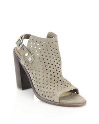 Rag & Bone | Gray Perforated Suede Sandals | Lyst