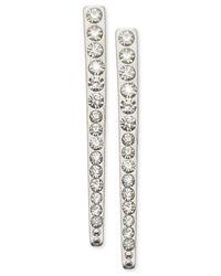 Guess | Metallic Silver-tone Crystal Linear Drop Earrings | Lyst