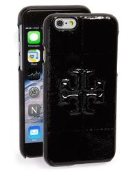 Tory Burch | Black 'marion' Patent Leather Iphone 6 & 6s Case | Lyst