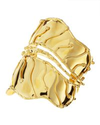 Devon Leigh | Metallic 18k Gold Plated Leaf Cuff | Lyst