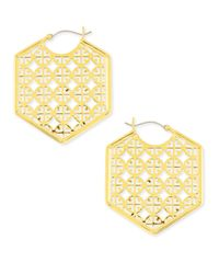 Tory Burch | Metallic Perforated Logo Hoop Earrings | Lyst