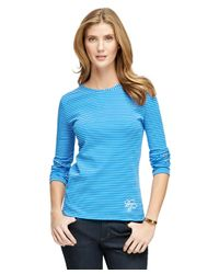 Brooks Brothers - Blue Cotton Scoopneck Knit - Lyst