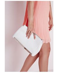 Missguided - Metal Plate Detail Chain Bag White - Lyst