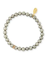 Sheryl Lowe - Metallic 6Mm Pyrite & Pave Diamond Bead Bracelet - Lyst