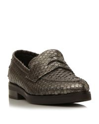 Dune Black | Metallic Finnley Pointed Penny Loafer | Lyst