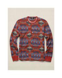 RRL - Red Cotton-blend-fleece Henley for Men - Lyst
