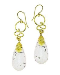 Aeravida | Metallic Cute White Howlite Teardrop Brass Swirl Earrings | Lyst