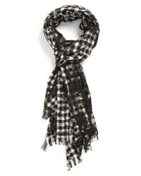 John Varvatos - White Check Wool Scarf for Men - Lyst