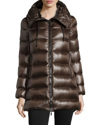Moncler | Brown Suyen Shiny Hooded Puffer Coat | Lyst