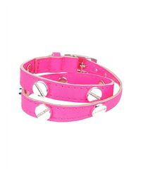 CC SKYE | Pink The Signature Screw Bracelet Double Wrap With Pave | Lyst