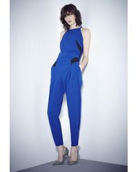 MILLY | Blue Doubleweave Tech Darted Shell Top | Lyst