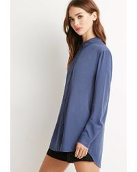 Forever 21 - Blue Vented-back Shirt - Lyst