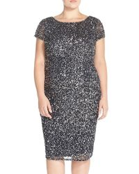 Adrianna Papell | Metallic Beaded Cap Sleeve Sheath Dress | Lyst