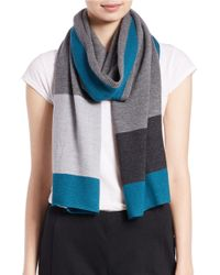 Eileen Fisher | Gray Colorblocked Wool Scarf | Lyst