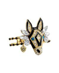 Betsey Johnson - Multicolor Critter Statement Crystal Zebra Hinged Bangle Bracelet - Lyst