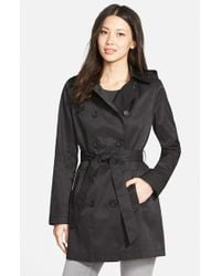 DKNY | Black Double Breasted Trench Coat With Removable Hood | Lyst