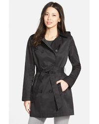 DKNY - Black Double Breasted Trench Coat With Removable Hood - Lyst