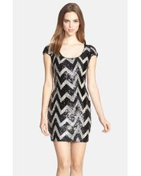 Dress the Population | Black 'gabriella' Chevron Sequin Body-con Minidress | Lyst