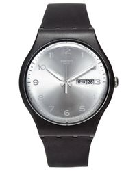 Swatch - Metallic Unisex Swiss Silver Friend White And Black Double-layer Silicone Strap Watch 41mm Suob717 for Men - Lyst