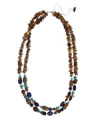 Lord & Taylor | Brown Two-Row Multi-Gemstone Necklace | Lyst