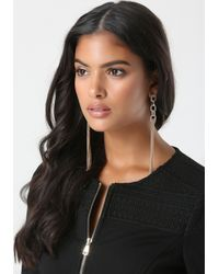 Bebe - Metallic Link & Fringe Earrings - Lyst