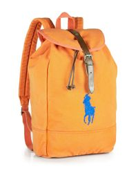 Polo Ralph Lauren | Orange Canvas Backpack for Men | Lyst