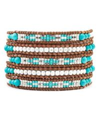 Chan Luu - White Turquoise Silver Mix Wrap Bracelet On Natural Brown Leather - Lyst