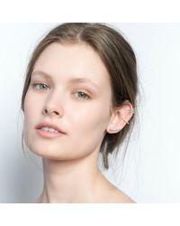 Astrid & Miyu - Metallic Crystal Armour Ear Cuff Silver - Lyst