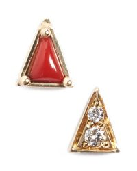 Mociun | Yellow Mismatch Triangle Stud Earrings | Lyst