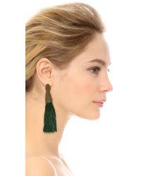 Oscar de la Renta - Green Long Silk Tassel Earrings Avocado - Lyst